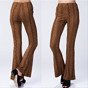 Pants - Embroidered Suede Pants